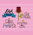 power girl stickers pop art style vector image vector image