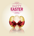 three golden easter eggs with ribbons vector image