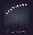 total lunar eclipce vertical banner night city vector image vector image