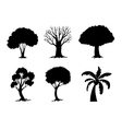Tree Silhouettes Collection vector image vector image