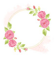 watercolor pink english rose wreath with round vector image vector image