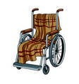 wheelchair with plaid pop art vector image vector image