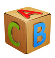 wooden cube with letters abc vector image vector image