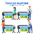 workers with plotter set woman man vector image