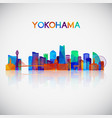 yokohama skyline silhouette in colorful geometric vector image vector image
