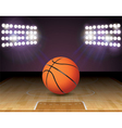 Basketball on Court with Lights vector image