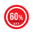 60 percent off - red sale stamp - special offer vector image vector image