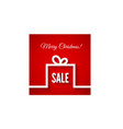 Abstract christmas gift box in flat style on red vector image