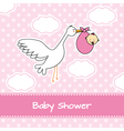 Baby girl arrival announcement card vector image vector image