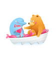 bear and dolphin animal friends kids cartoon vector image vector image