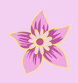 beautiful flower on color background in flat style vector image vector image