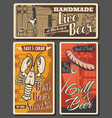 beer and brewery snacks posters vector image vector image