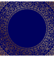 blue frame with gold ornament vector image vector image
