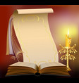 book with burning candle vector image