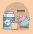 breakfast ingredients cartoons vector image
