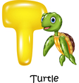 Cartoon of T letter for Turtle vector image vector image
