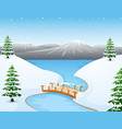 cartoon winter landscape wi vector image vector image