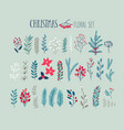 christmas floral set - hand drawn vector image