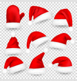 christmas santa claus hats with fur set mitten vector image vector image