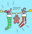 Christmas sweets and stockings vector image vector image