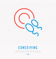 conceiving thin line icon sperm in egg vector image vector image