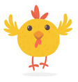 cute cartoon yellow chicken blinking eye vector image vector image
