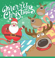 cute santa claus and reindeer cartoon characters vector image