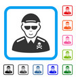 deadly officer framed happy icon vector image