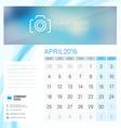 Desk Calendar for 2016 Year April Stationery vector image vector image