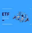 etf isometric landing page exchange traded fund vector image vector image