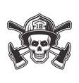 firefighter skull in helmet vector image vector image