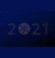firework 2021 new year concept on black and blue vector image