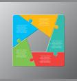 five pieces puzzle jigsaw squares infog raphic vector image vector image
