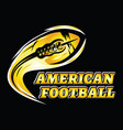 flying golden ball american football on a black vector image