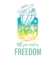 freedom design for t-shirt print cactus succulent vector image vector image