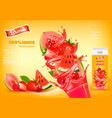 fresh juice with exotic fruits and splashing vector image vector image