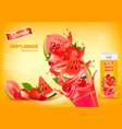 fresh juice with exotic fruits and splashing vector image