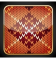 Glossy square icon with knitting pattern vector image vector image