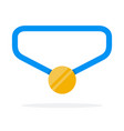 gold medal on blue ribbon flat isolated vector image