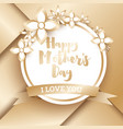 happy mothers day golden greeting card with vector image