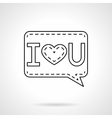 I Love You black flat line icon vector image