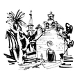 ink drawing of historic church in with palm in vector image vector image