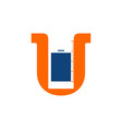 letter u and phone logo designs inspiration vector image