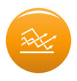 line chart icon orange vector image vector image