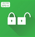 lock unlock icon business concept locker security vector image