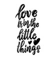 love is in little things lettering phrase on vector image vector image