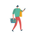 man is shopping with holding bags male vector image vector image