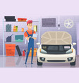 mechanic in garage auto service man fixing vector image vector image