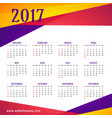 modern colorful 2017 calendar template vector image vector image