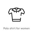 outline polo shirt for women icon isolated black vector image vector image
